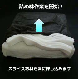 詰め綿作業を開始!スライス芯材を奥に押し込みます
